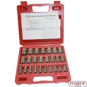 25 Pc. Multi-Spline Extractor Set- ZIMBER TOOLS.