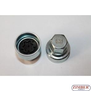 Locking Wheel Nut Key 522 B 17mm VW Golf Passat T4, Skoda -522- ZIMBER TOOLS
