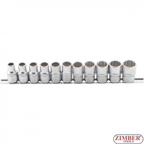 "Socket Set, 12-point   12.5 mm (1/2"") Drive   10 - 21 mm   11 pcs. - ZB-9107 - BGS - technic."