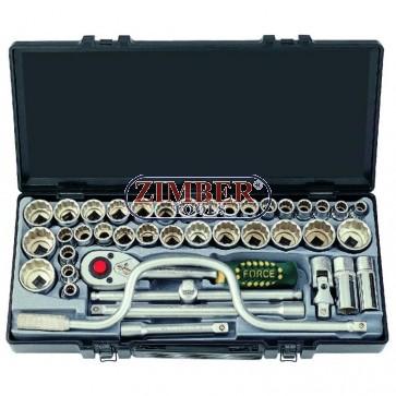 """FORCE 4412-5 набор торцевых головок 1/2"""" 6-гранных,метрических от 10 до 32мм,дюймовых от 3/8"""" до 1""""."""