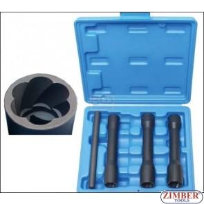 "Twist Socket Set (Spiral Profile) / Screw Extractor, deep | 12.5 mm (1/2"") Drive | 17 - 19 - 21 mm| 4 pcs. - 5264 - BGS- technic."