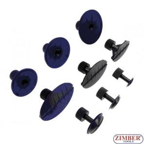 Пистоны различной конфигурации, для ремонта вмятин клеевой системой 9шт (ZR-41PDDMK9) - ZIMBER-TOOLS