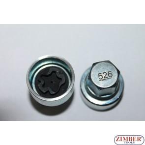 Locking Wheel Nut Key 526 VAG-VW Golf Passat T4- Seat Audi Skoda 526- ZIMBER TOOLS