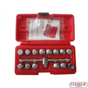 OIL SCREW SOCKET SET-15pc. 3/8, ZR-36DN3815  - ZIMBER-TOOLS.