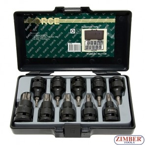"Star impact socket bit set 10pc, 1/2"" 4108-FORCE."