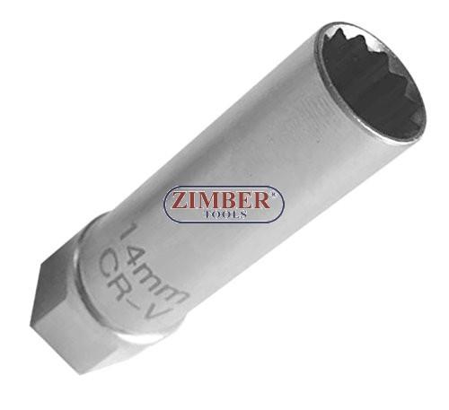 Thin Wall Spark Plug Socket 3 8 Drive 12mm 12 Points Zr 04spstm3812 Zimber Tools