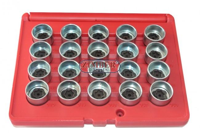 Set 20pcs  Anti theft Screw Tool Disassembly Master Wheel Lock Keys Set For  BMW, (ZR-36BWBLS20) - ZIMBER TOOLS