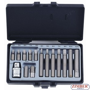"Hex bit set 1/2"", 15pc (4155) - FORCE"
