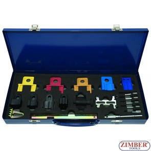 19PC PETROL ENGINE TWIN TIMING CAM LOCKING SETTING & FLYWHEEL HOLDING TOOL KIT, ZR-36TT19 - ZIMBER TOOLS.