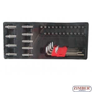 "Socket bit, hex key set 1/4"" -  41pc., ZT-00841 - SMANN TOOLS."